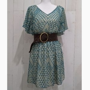 AUW Tribal Print Fit & Flare Dress